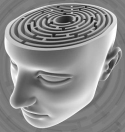 Illustration of a head with a maze as the brain