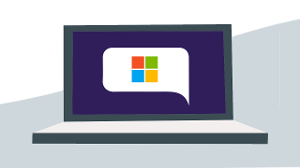 graphic of laptop screen displaying the Microsoft logo